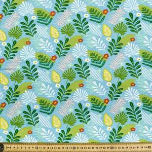 Printed Combed Cotton Foliage Sea Green 112 cm Fabric