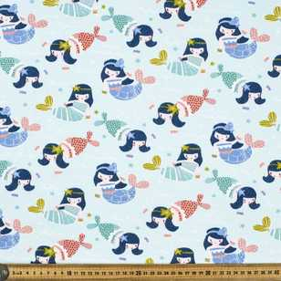 Printed Combed Cotton Mermaid Mint 112 cm Fabric