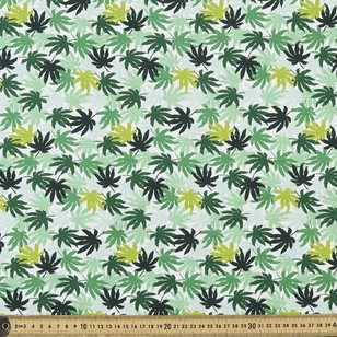 Printed Combed Cotton Aralia Plam Greens 112 cm Fabric