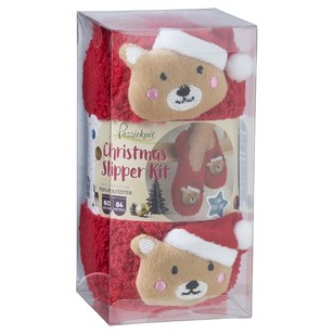 PassionKnit Teddy Christmas Slipper Kit