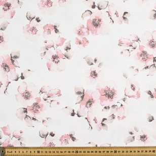 Pretty Floral Printed Sateen Fabric