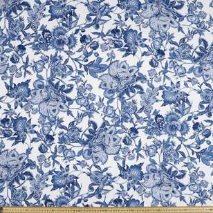 Jacobean Blue Printed Cotton Linen Fabric