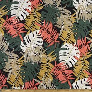 Colourful Ferns Printed Cotton Linen Fabric