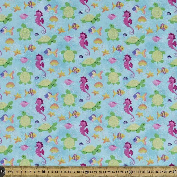Maritime Fun Glitter Printed Poplin Fabric