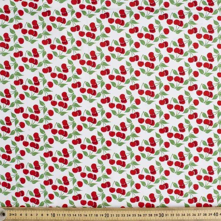 Cherries With Glitter Printed Poplin Fabric