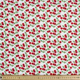 Cherries With Glitter Printed Poplin Fabric