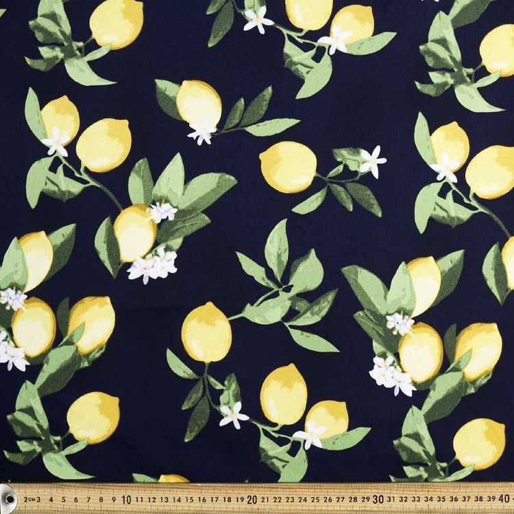 Lemon Blossom Printed Sateen Fabric