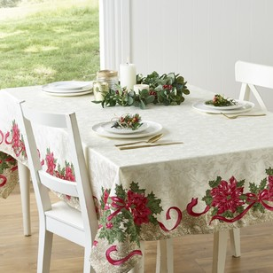 Living Space Festive Jacquard Poinsettia Christmas Tablecloth