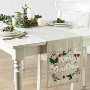 Living Space Festive Terry Embroidered Christmas Tablecloth