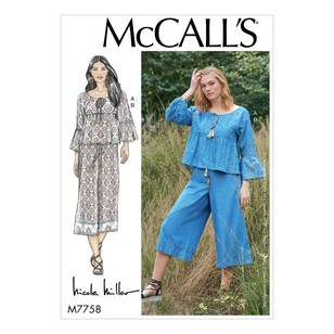 McCall's Pattern M7758 Nicole Miller Misses' Top And Pants