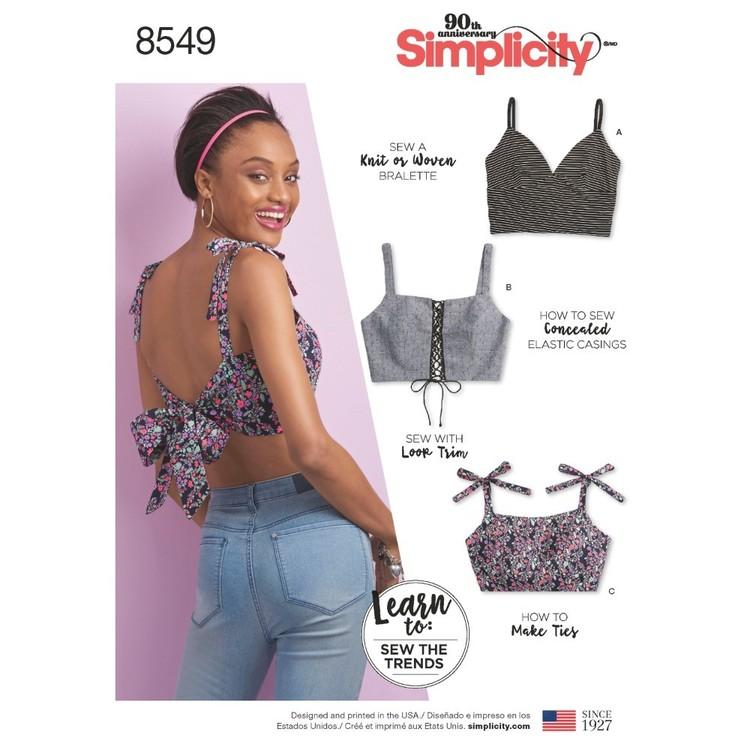 Simplicity Pattern 8549 Misses' Bra Tops