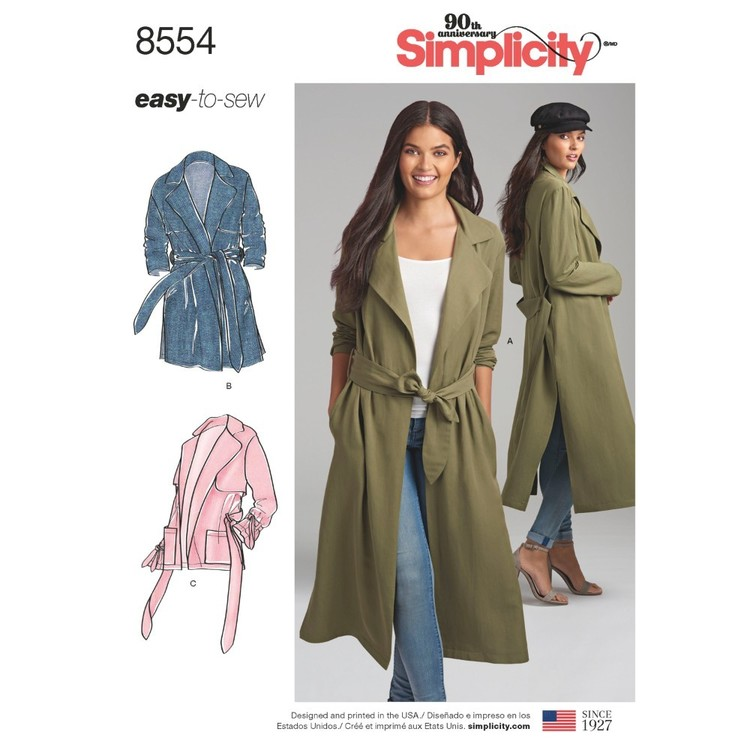 Simplicity Pattern 8554 Misses' And Miss Petite Coats And Jackets