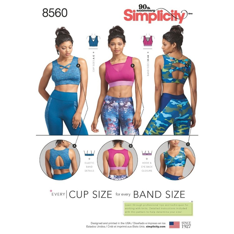 Simplicity Pattern 8560 Misses' Knit Sports Bras