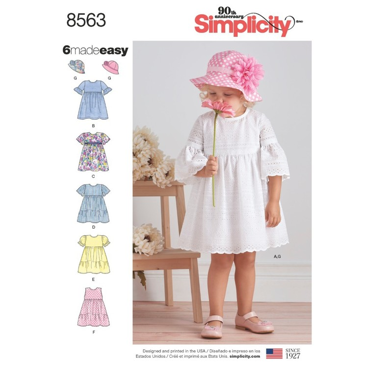 Simplicity Pattern 8563 Toddler Dresses And Hat