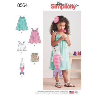 Simplicity Pattern 8564 Child's Dress, Top, Shorts And Bag