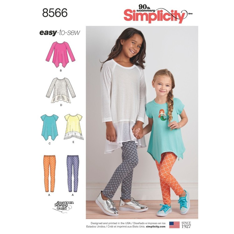 Simplicity Pattern 8566 Child's And Girls' Tunics And Leggings