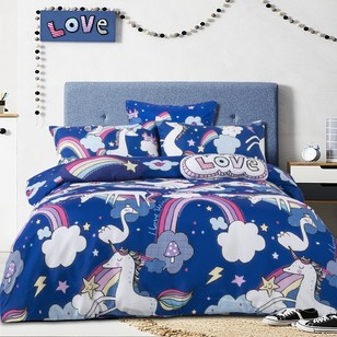 Ombre Blue Unicorn Love Quilt Cover Set
