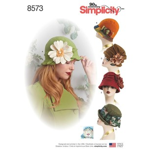 Simplicity Pattern 8573 Misses' Flapper Hats In Three Sizes