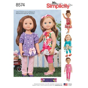 "Simplicity Pattern 8574 14"" Doll Clothes"