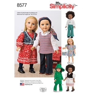 "Simplicity Pattern 8577 18"" Doll Clothes"