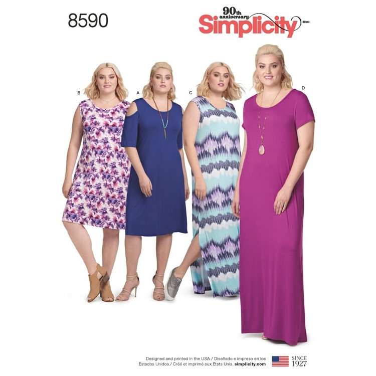 Simplicity Pattern 8590 Women's Knit Dresses