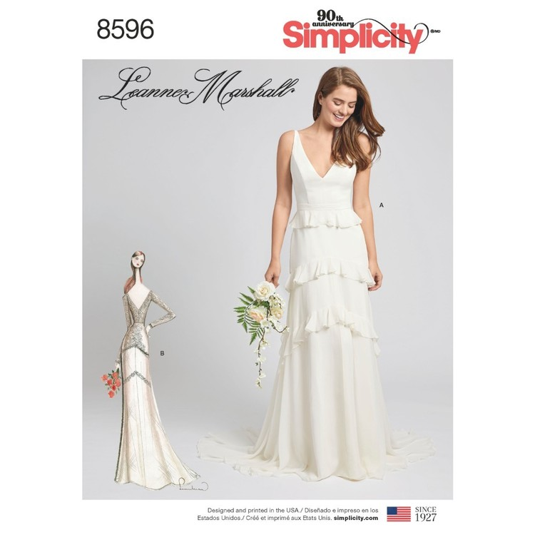 Simplicity Pattern 8596 Misses' Gown With Train Option