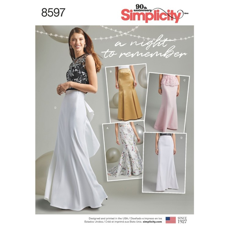 Simplicity Pattern 8597 Misses' And Women's Special Occasion Skirts