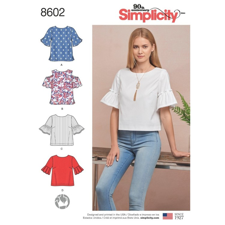 Simplicity Pattern 8602 Misses' Tops In Two Lengths