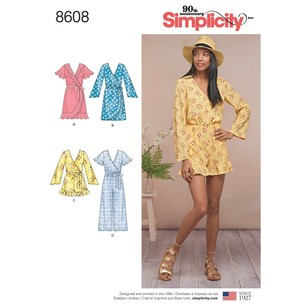 Simplicity Pattern 8608 Misses' Jumpsuit And Dress
