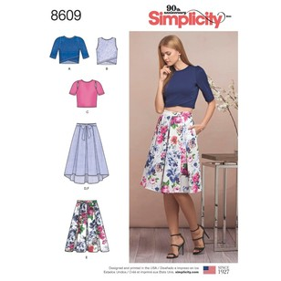 Simplicity Pattern 8609 Misses' Skirts And Knit Tops