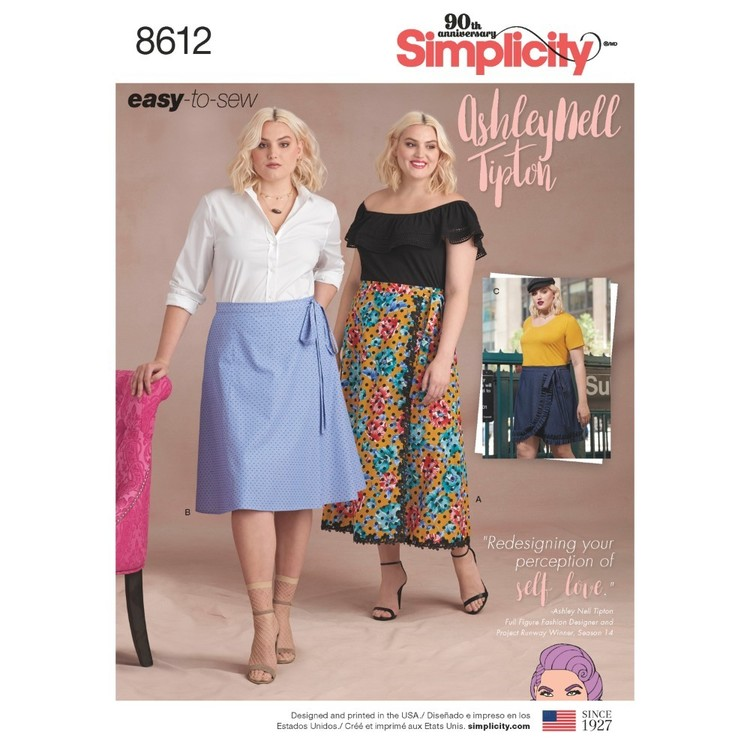Simplicity Pattern 8612 Women's Easy Wrap Skirts By Ashley Nell Tipton