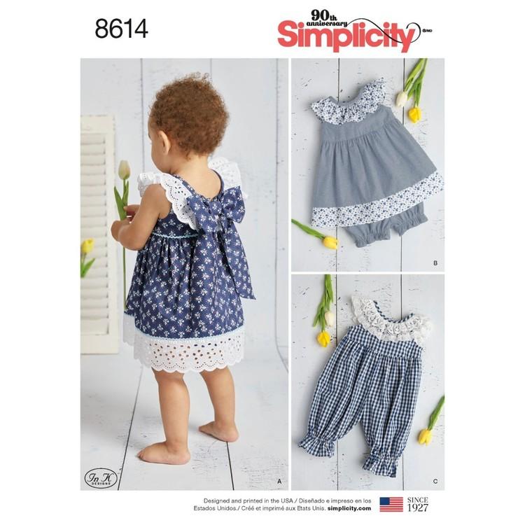 Simplicity Pattern 8614 Babies' Dress, Romper And Panties