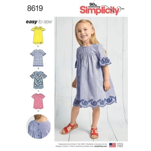 Simplicity Pattern 8619 Child's Easy To Sew Dresses