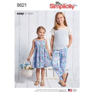 Simplicity Pattern 8621 Child's And Girls' Dress, Top, Pants And Camisole
