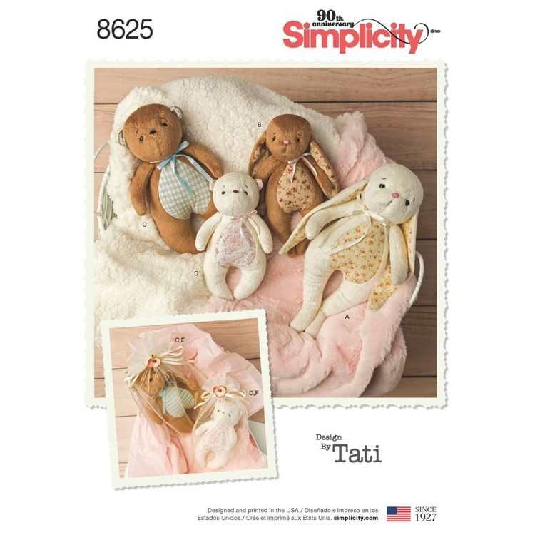 Simplicity Pattern 8625 Stuffed Animals And Gift Bags