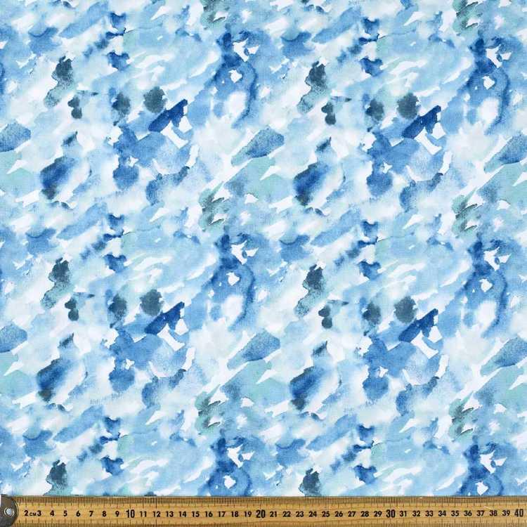 Printed Poplin Watercolour Blues 112 cm Fabric