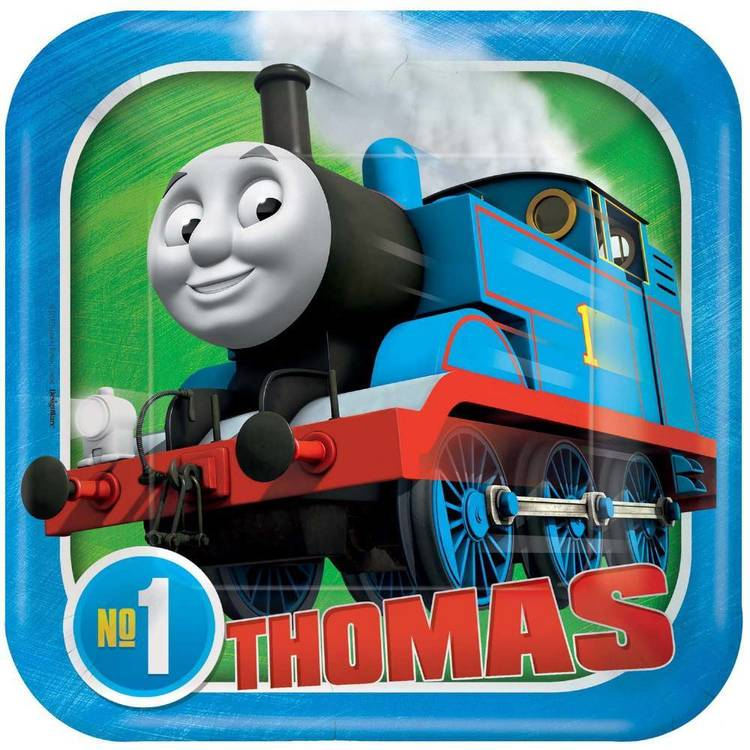 No.1 Thomas 7 Inch Square Plates Blue 7 in