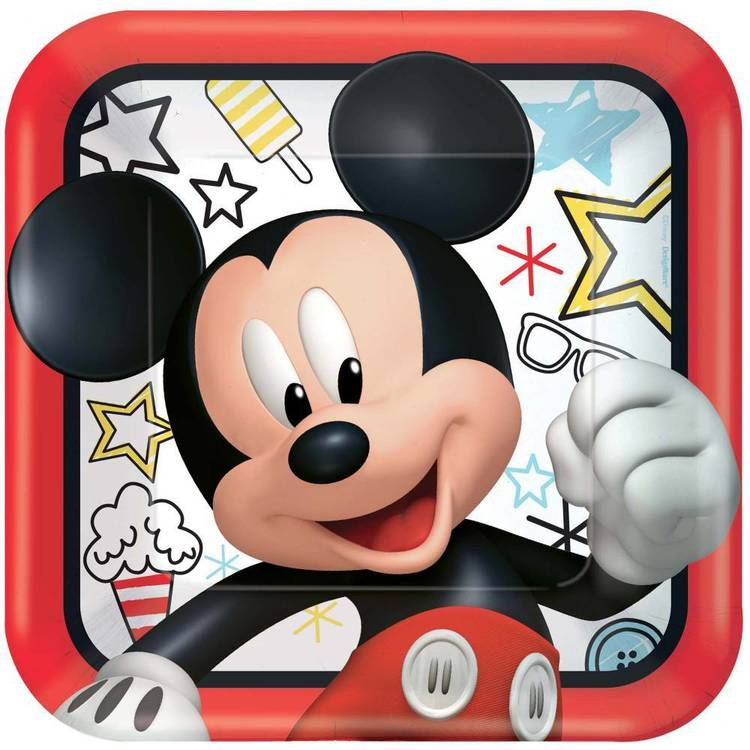 Mickey On The Go 9 Inch Square Plates 8 Pack
