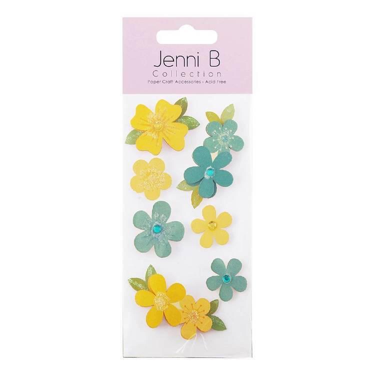 Jenni B Blue and Yellow Flower Stickers