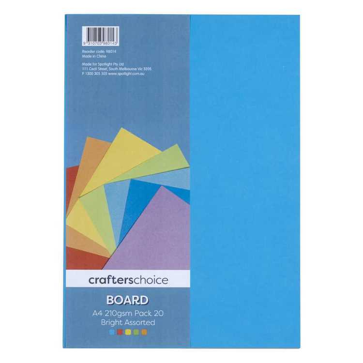 Crafters Choice Bright 201gsm A4 Board Pack  Bright A4