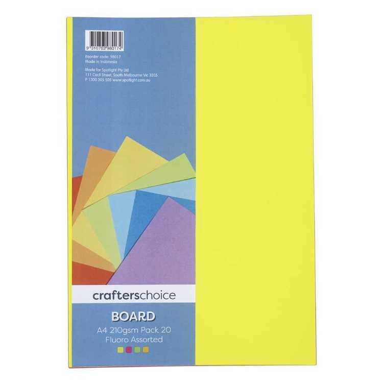 Crafters Choice Fluoro 201gsm A4 Board Pack