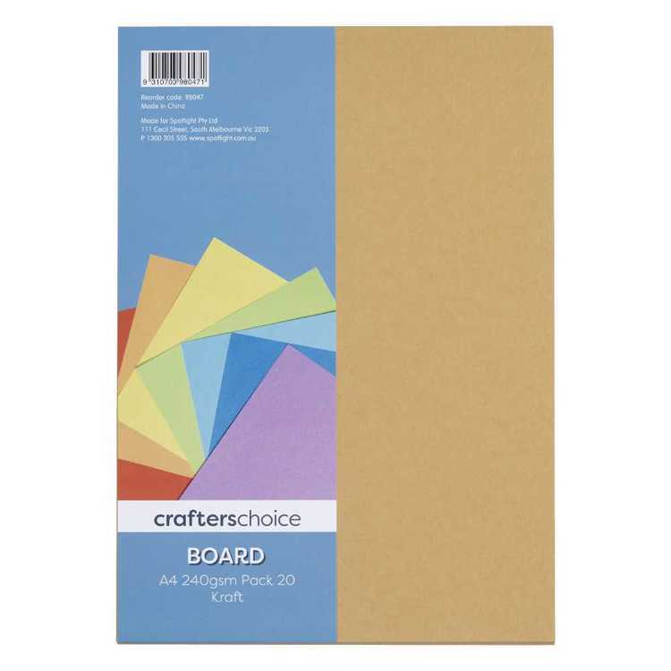 Crafters Choice 240gsm A4 Kraft Board Pack