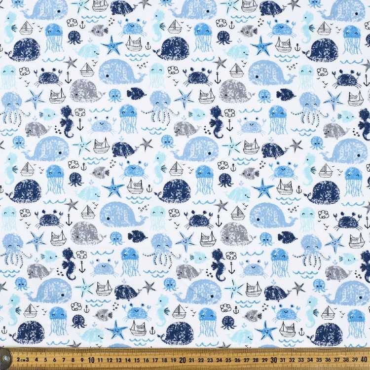 Friends at Sea Printed Cotton Poplin Fabric