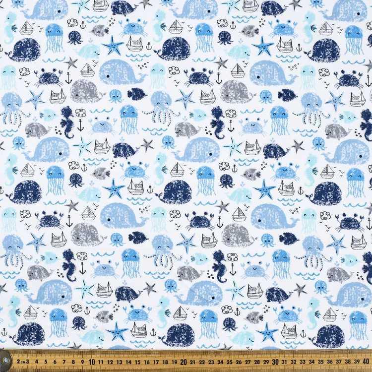Friends at Sea Printed Cotton Poplin Fabric