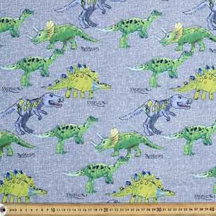 Textured Dino's Printed Cotton Poplin Fabric