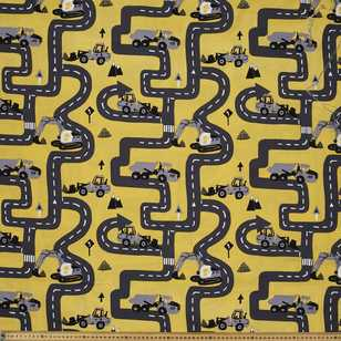 Tractor Tracks Printed Cotton Poplin Fabric