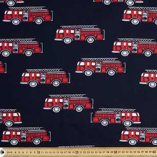 Fire Trucks Printed Cotton Poplin Fabric