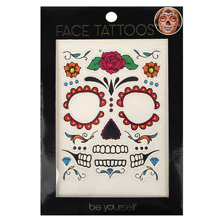 BYS Face Tattoo - Day Of The Dead Multicoloured
