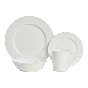 Casa Domani Casual White 16 Piece Rim Dinner Set