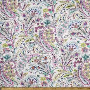 Printed Rayon Paisly Garden Fabric